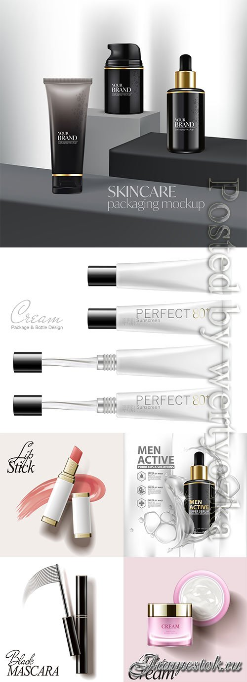 Cosmetic bottle package vector product poster