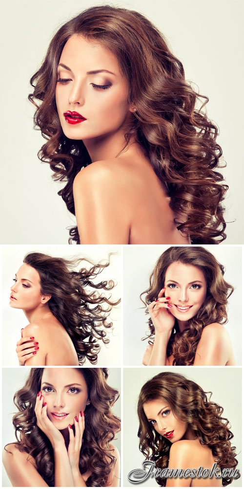 Well-groomed girl with curly long hair stock photo