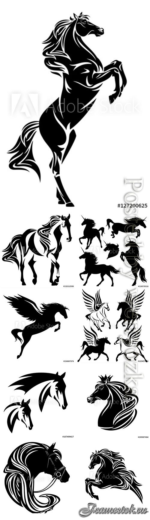 Horses, unicorns and pegasuses in vector