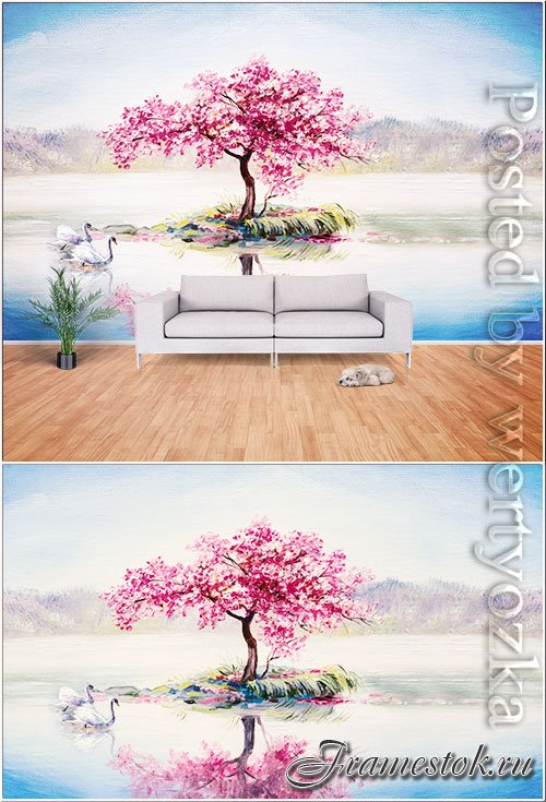Oil painting style landscape scenery tv background wall
