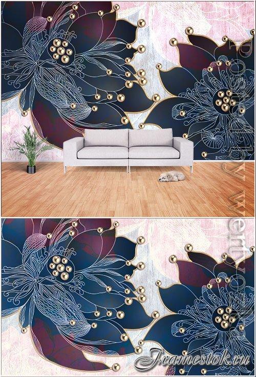 Modern minimalist lotus flower tv background wall