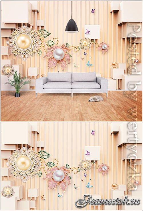 Modern minimalistic 3d jewelry tv background wall