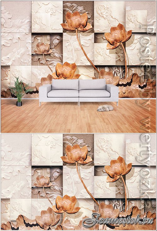 Boutique 3d wood lotus relief wall