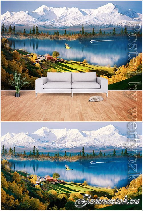 Modern landscape realistic oil painting style living room wall