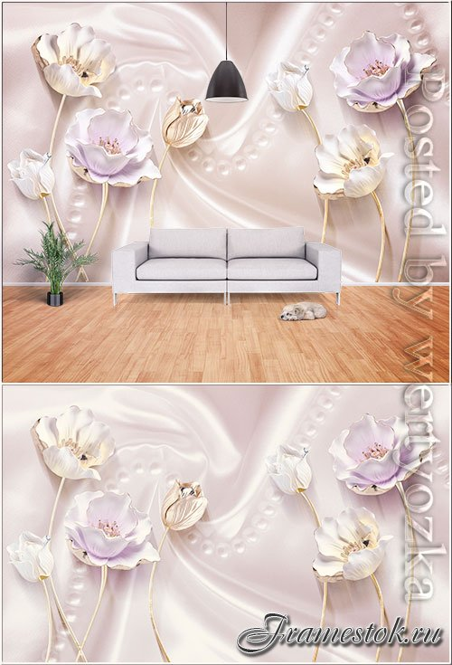3d pink satin stereo tulip jewelry background wall