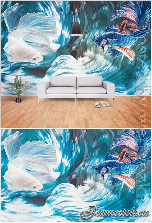 3d creative siamese fighting fish, psd painting room wall