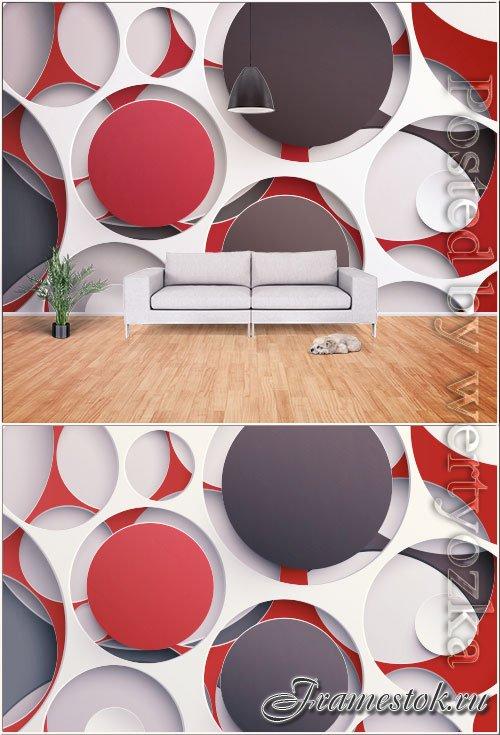 Modern stylish minimalistic 3d geometric graphic tv background wall