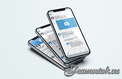 Twitter on silver mobile phone psd mockup