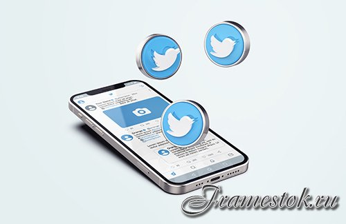 Twitter on silver mobile phone psd mockup with 3d icons