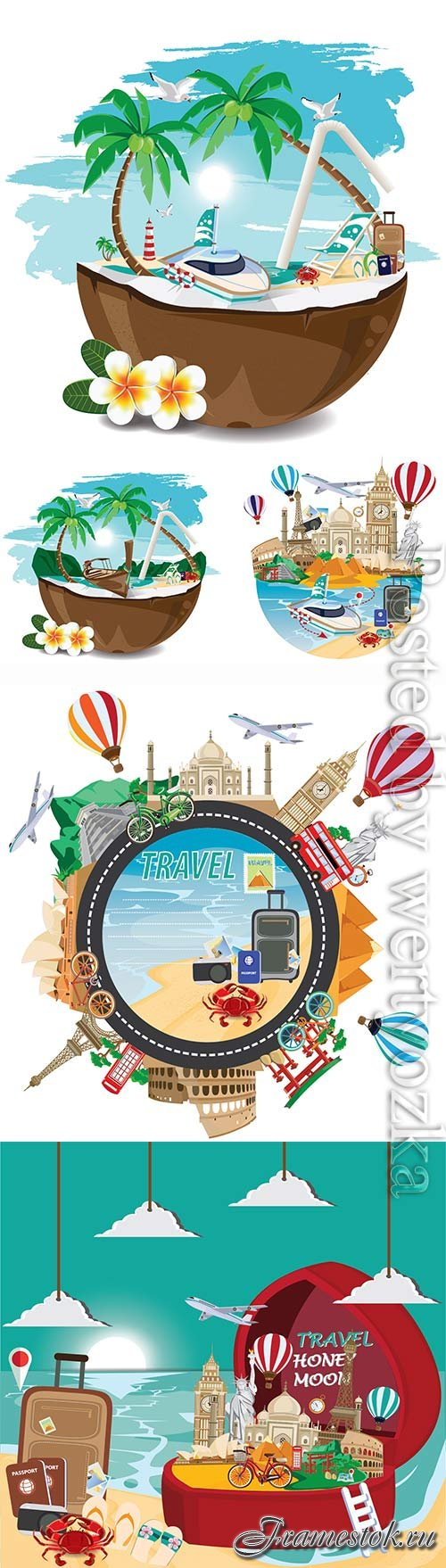 Summer vacation, sea, palm trees, cocktails in vector vol 2