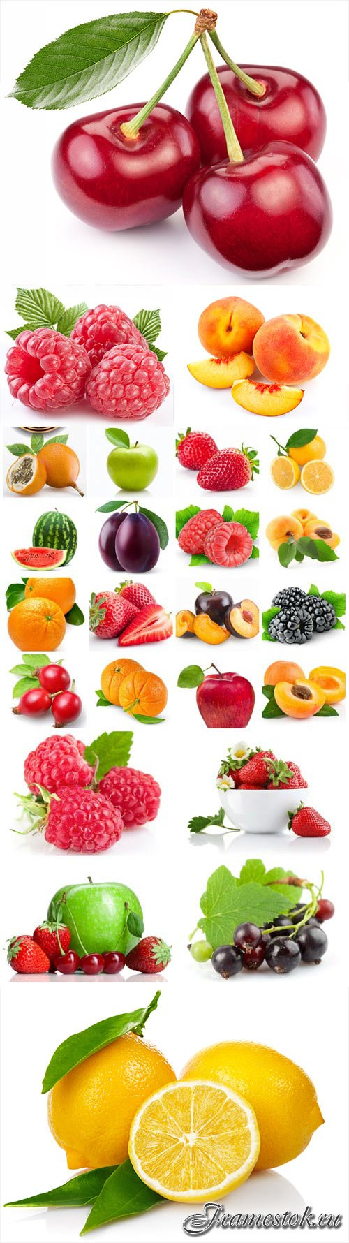 Set of fruits berries and citrus stock photo