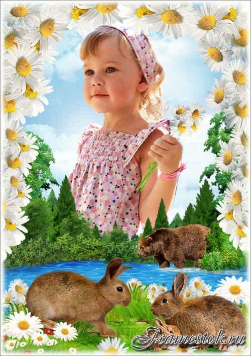 Летняя рамка для фото с милыми зайчатами - Ромашковый берег