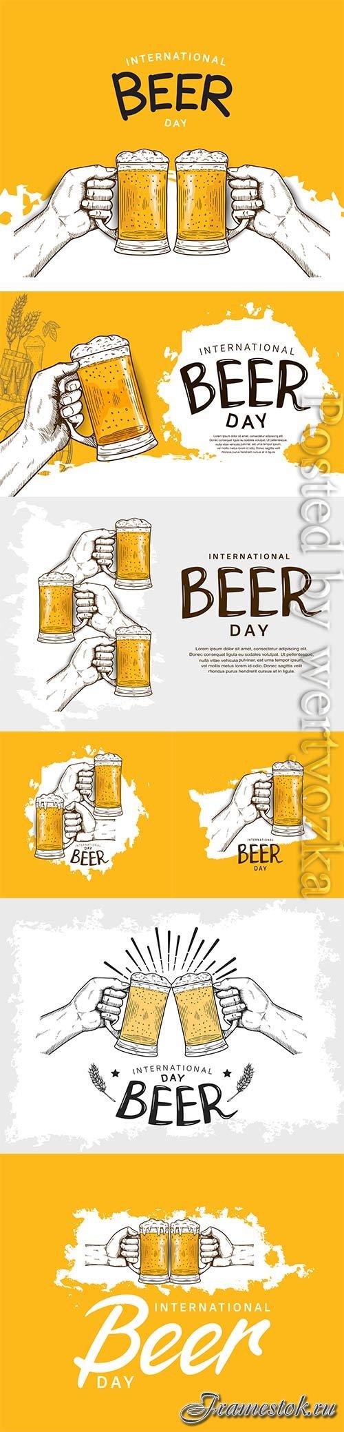 International beer day illustration vector design template