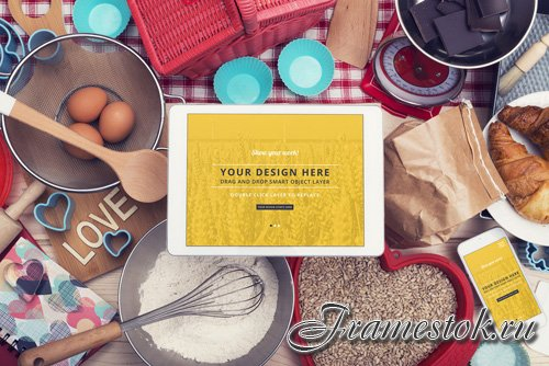 Tablet and Smartphone Surrounded by Baking Supplies Mockup 1 128898424