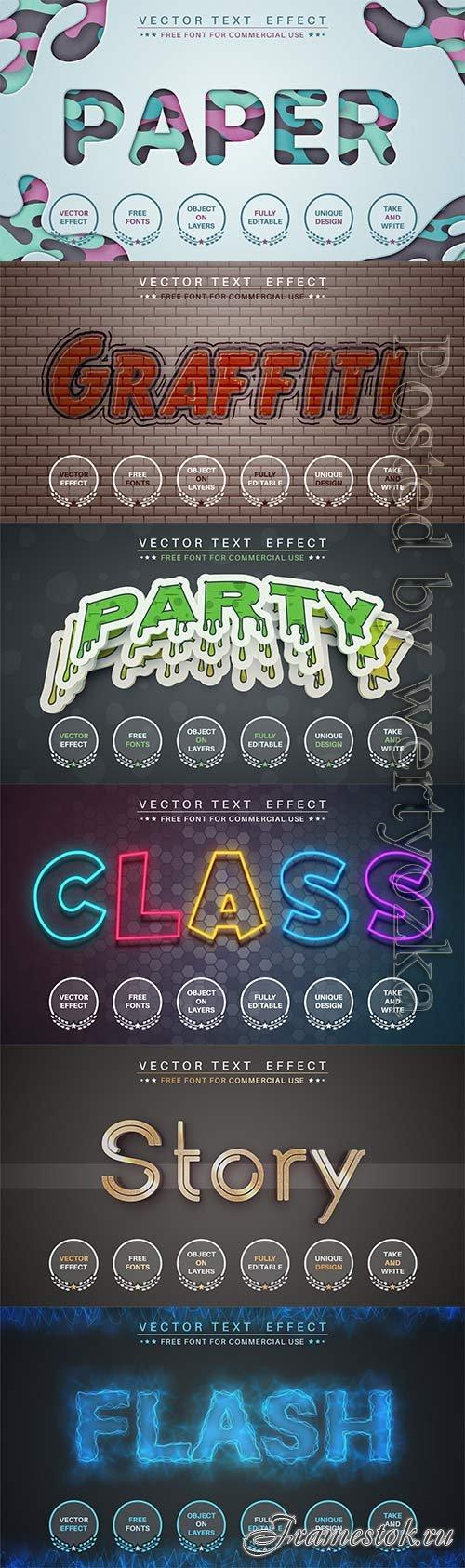 3d editable text style effect vector vol 755