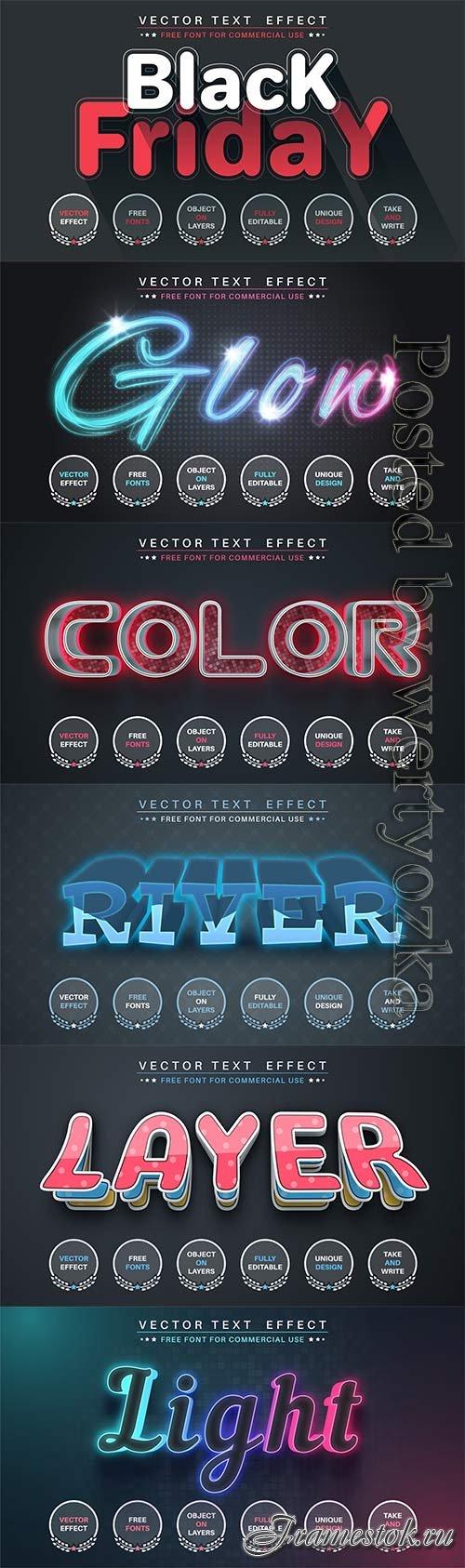 3d editable text style effect vector vol 753