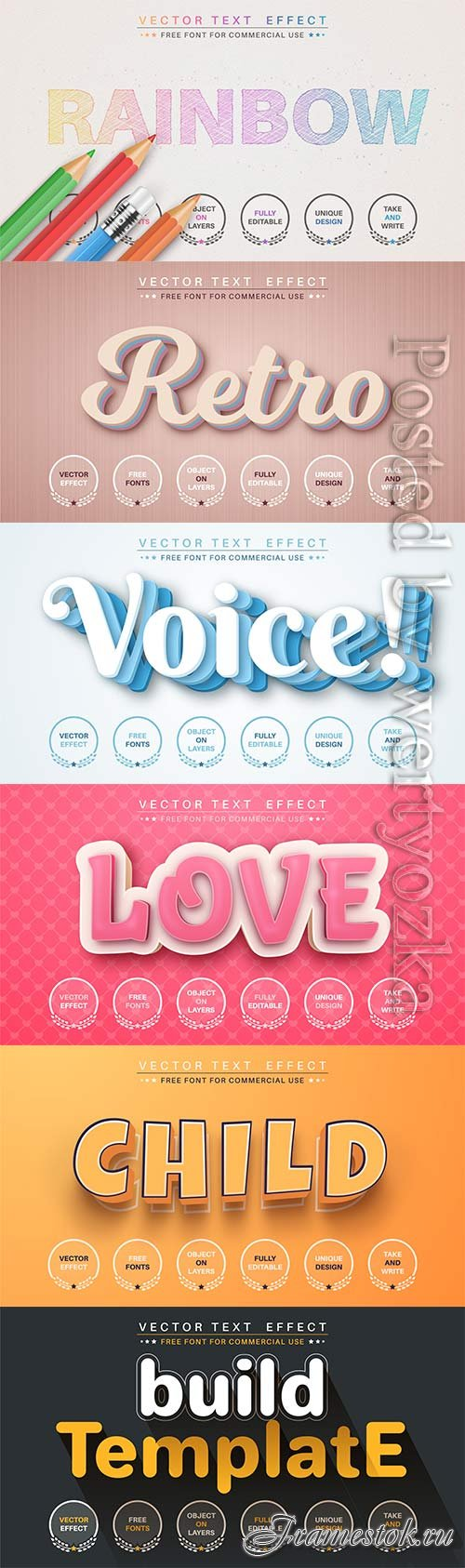3d editable text style effect vector vol 752