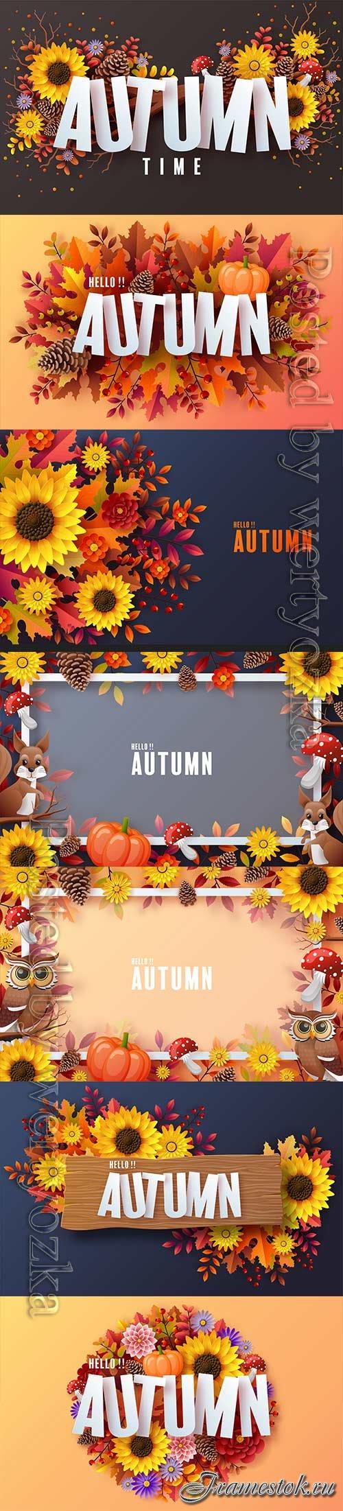 Autumn holiday seasonal vector background