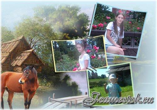 Рамка для фотошопа - Лето в деревне