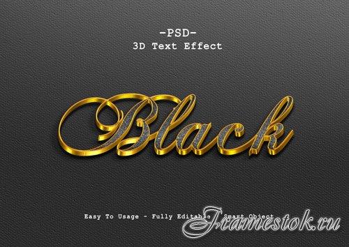 Black 3d text style effect Premium Psd