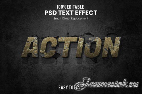 Action text effect Premium Psd
