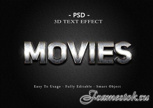 3d movies text effect Premium Psd