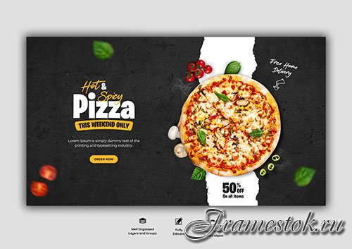 Food menu and delicious pizza web banner template Premium Psd