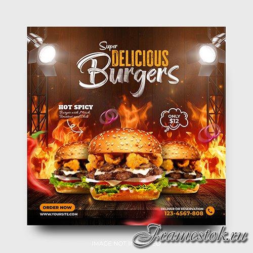 Delicious burger promotion food menu social media post template psd