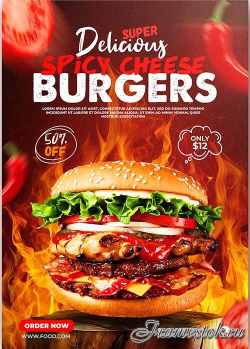 Burger food menu poster psd template