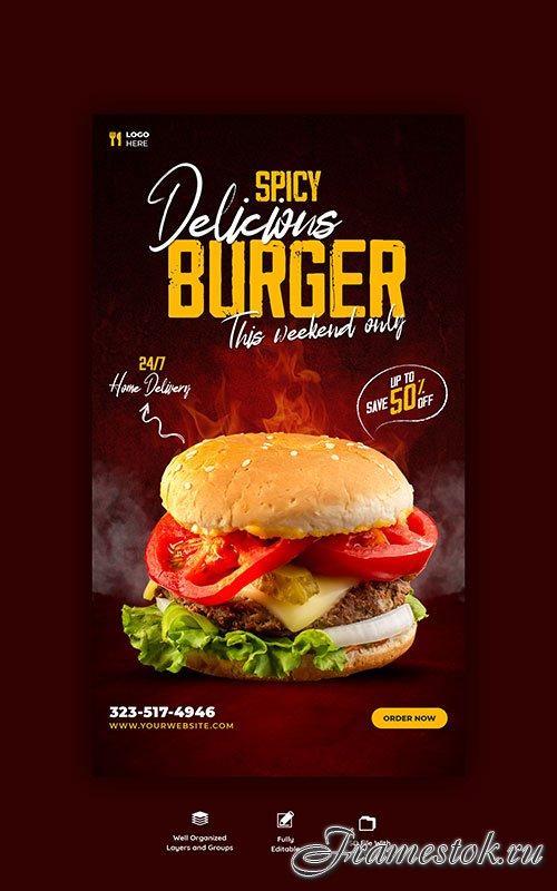 Burger and food menu psd template