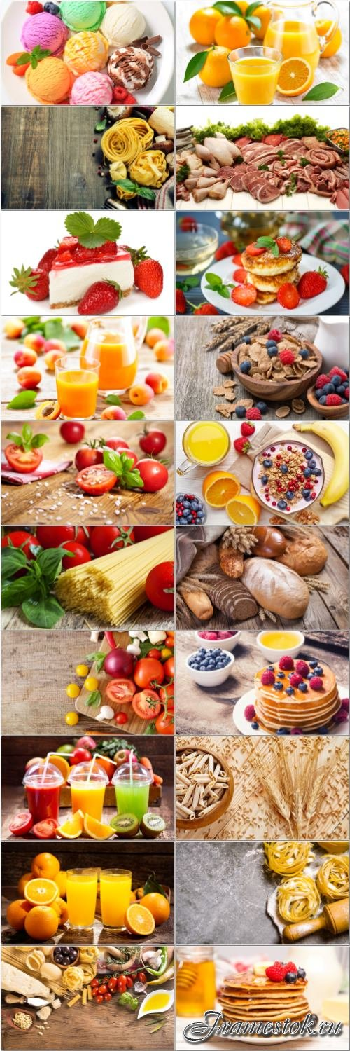 Fast food, meat, fruits, vegetables, dairy products - set stock photo