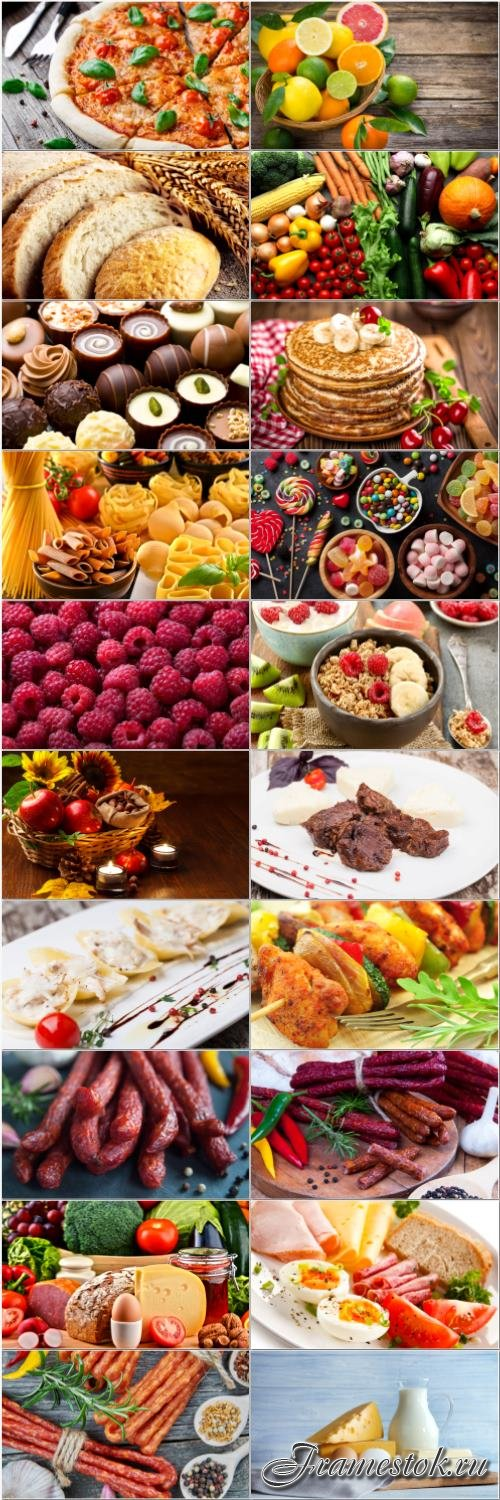 Desserts, meat, fruits, vegetables, dairy products - set stock photo