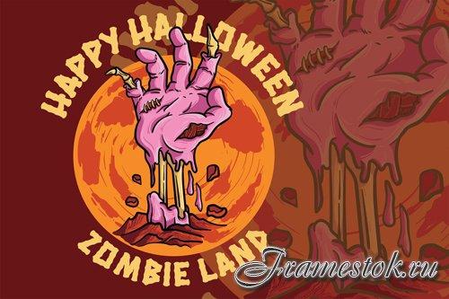 Zombie Land - Handdrawn Logo Illustration