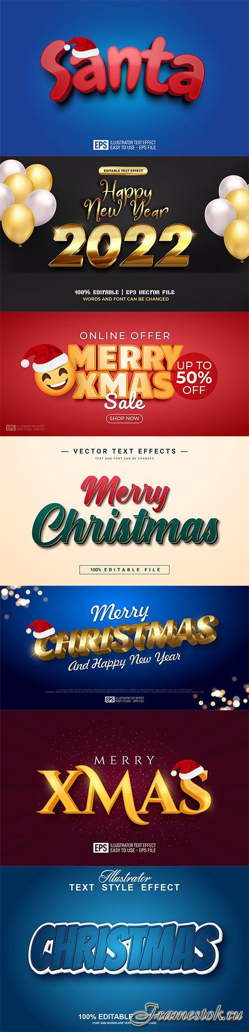 2022 New year, Merry christmas editable text effect premium vector vol 17