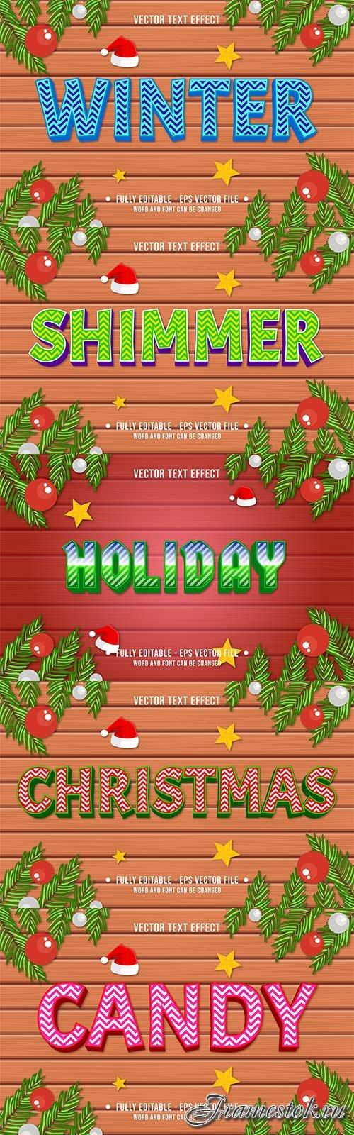 2022 New year, Merry christmas editable text effect premium vector vol 18