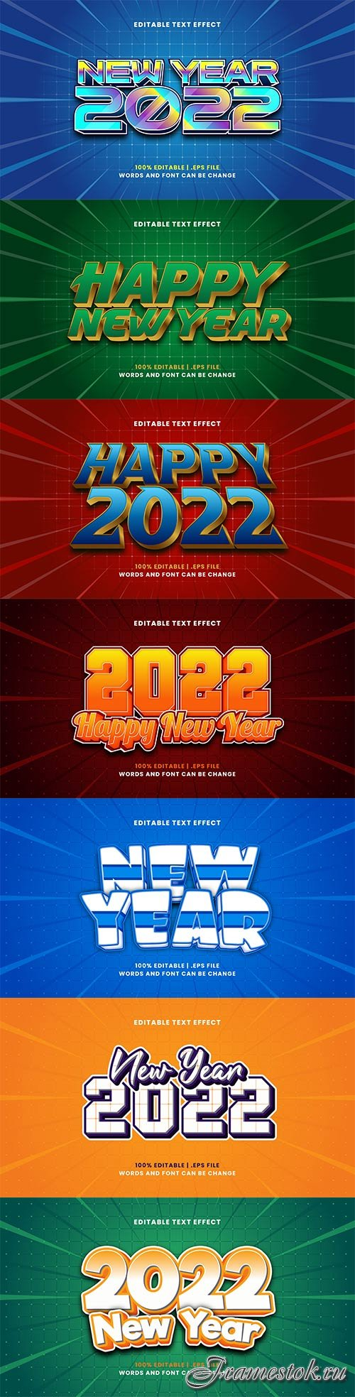2022 New year, Merry christmas editable text effect premium vector vol 15