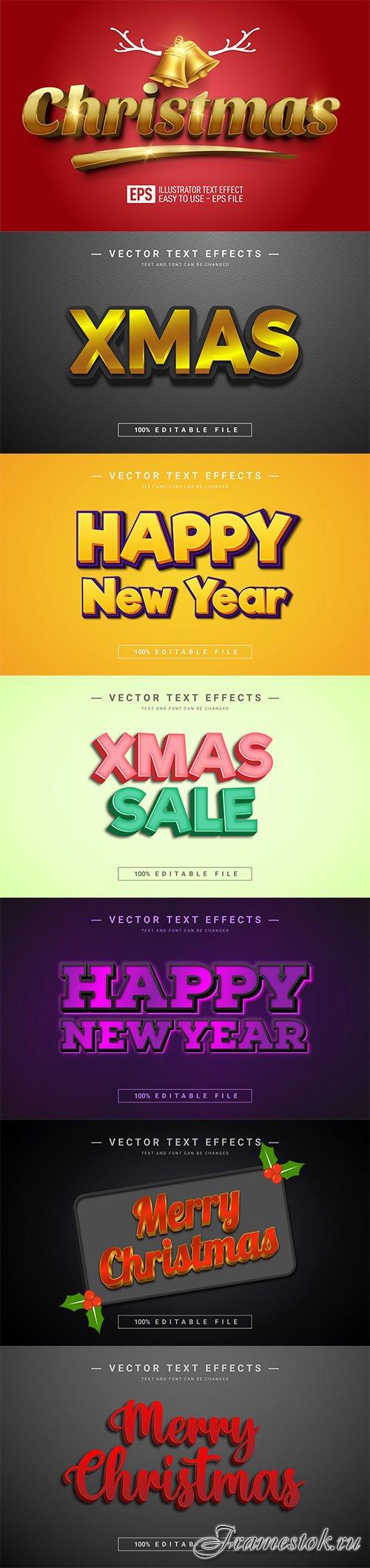 2022 New year, Merry christmas editable text effect premium vector vol 16