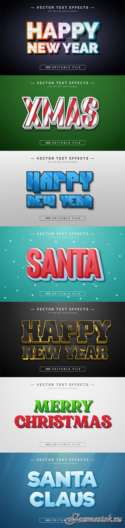 2022 New year, Merry christmas editable text effect premium vector vol 14