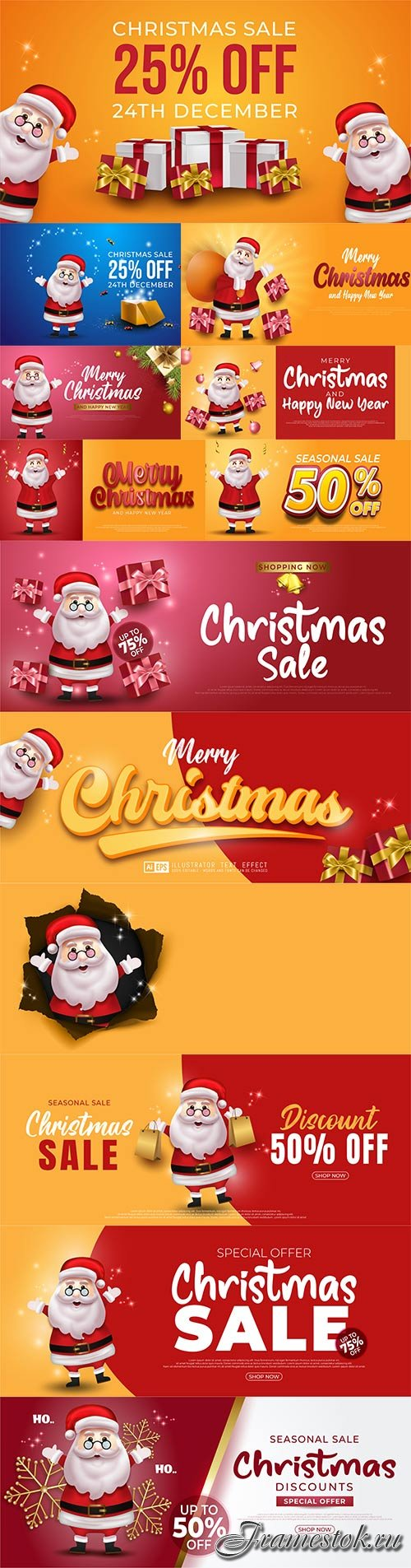 Merry christmas and happy new year banner with santa claus premium vector